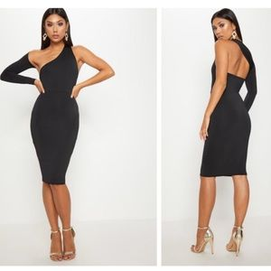 Black Disco Slinky One Shoulder Midi Dress